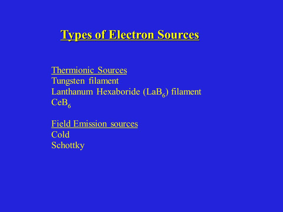Types of Electron Sources