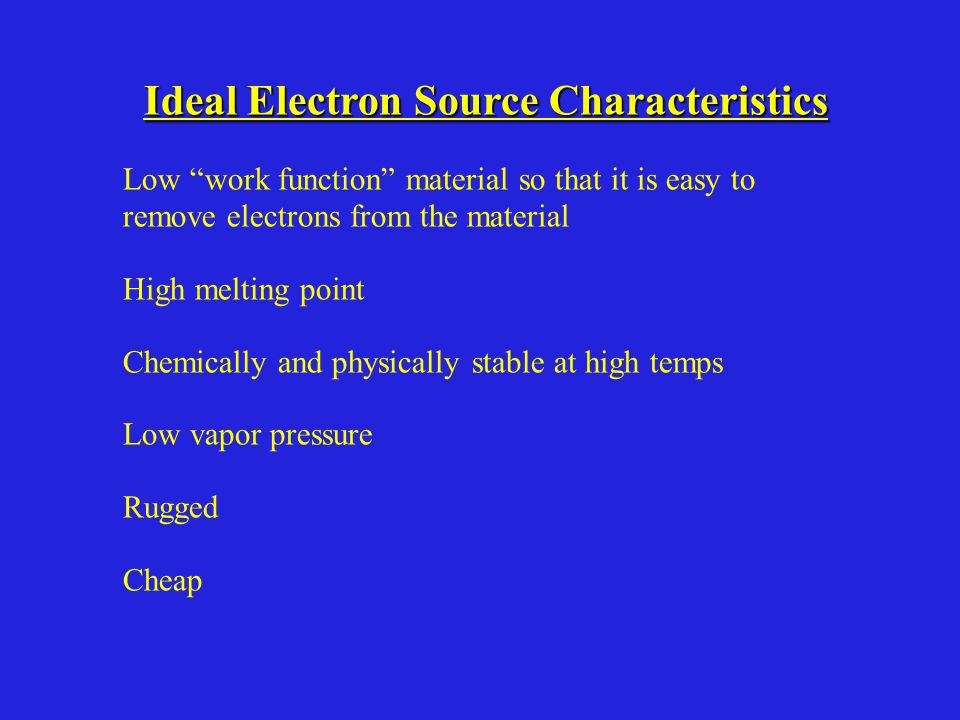Ideal Electron Source Characteristics