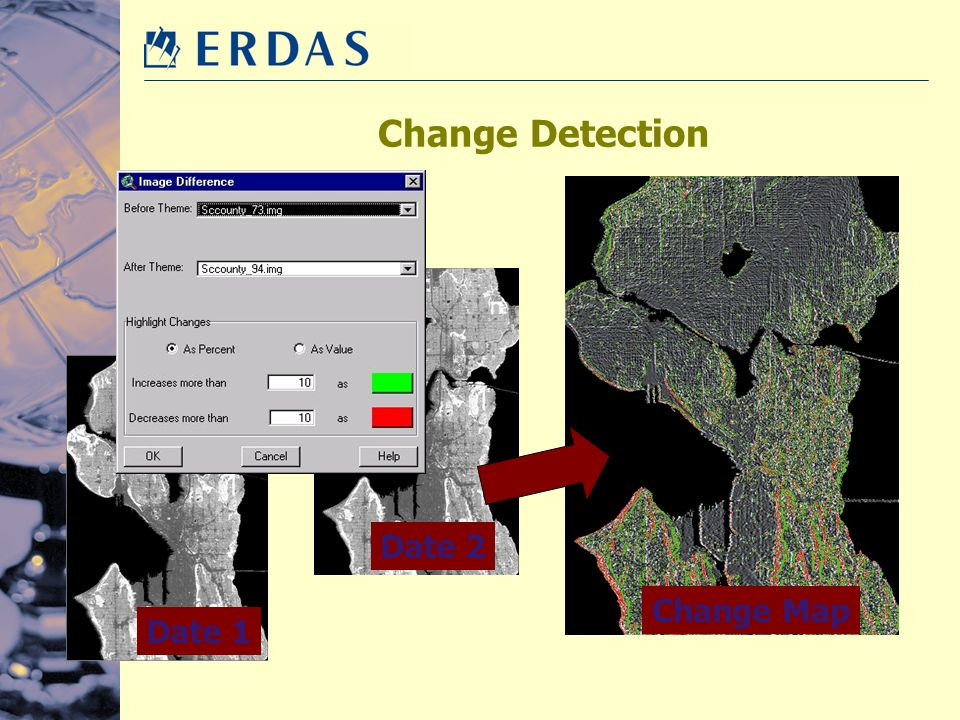 Change Detection Change Map Date 2 Date 1