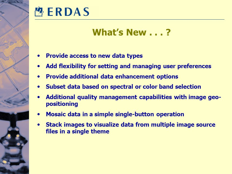 What's New . . . Provide access to new data types
