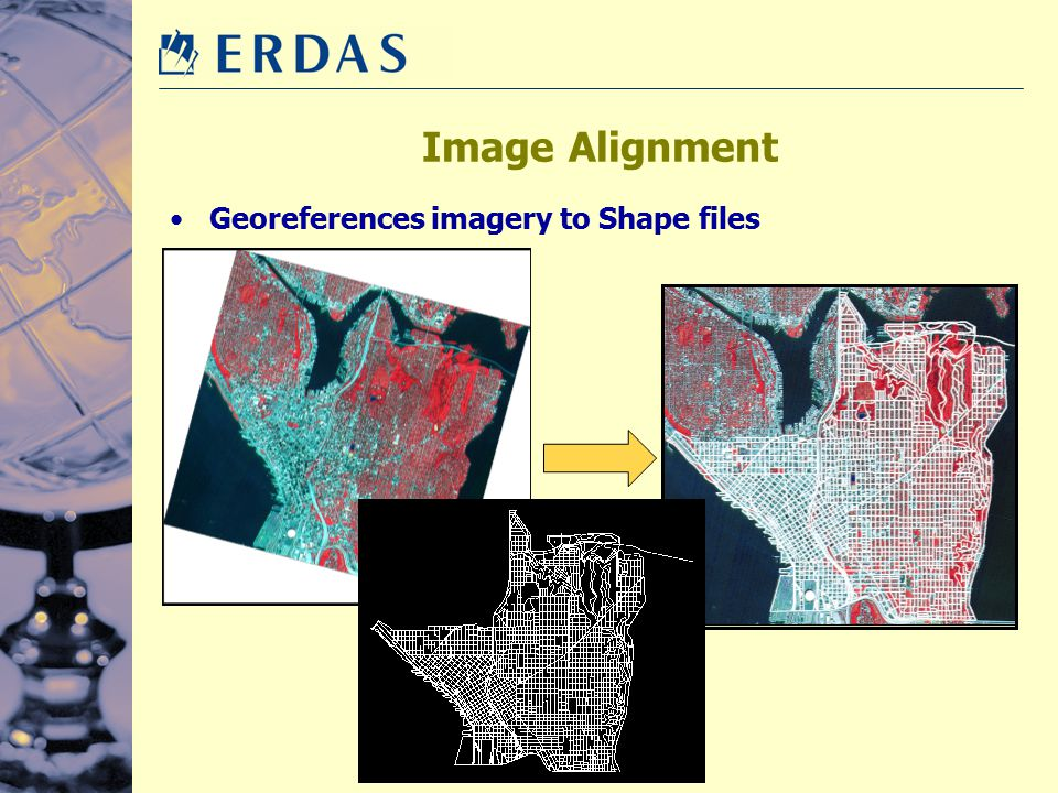 Image Alignment Georeferences imagery to Shape files