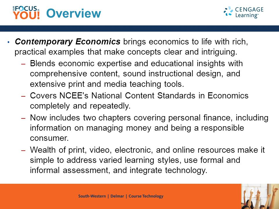 Overview Contemporary Economics brings economics to life with rich, practical examples that make concepts clear and intriguing.