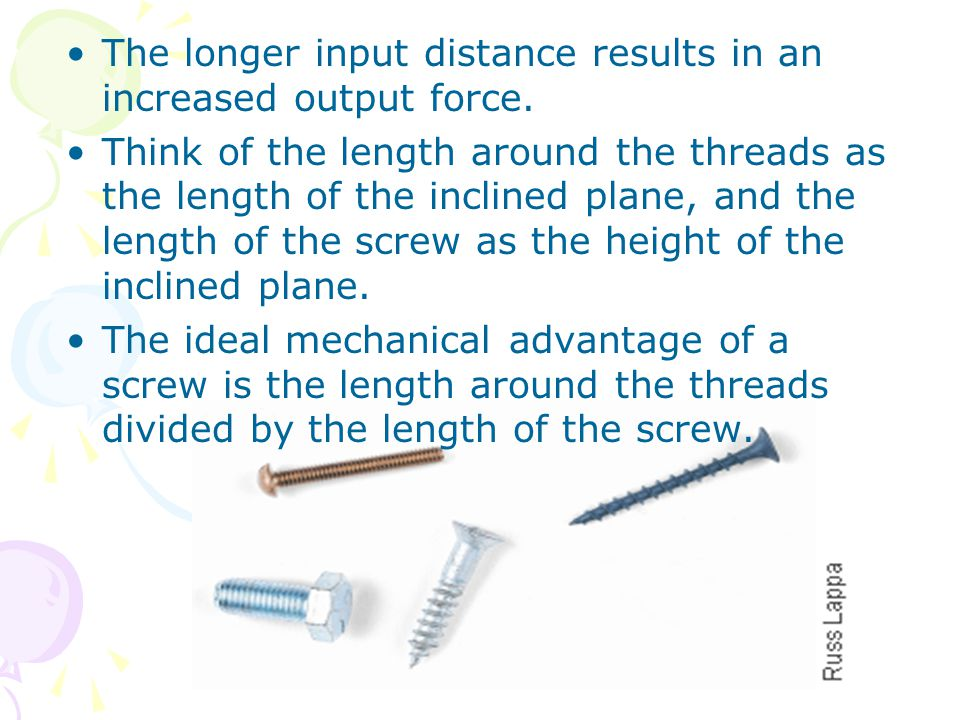 The longer input distance results in an increased output force.