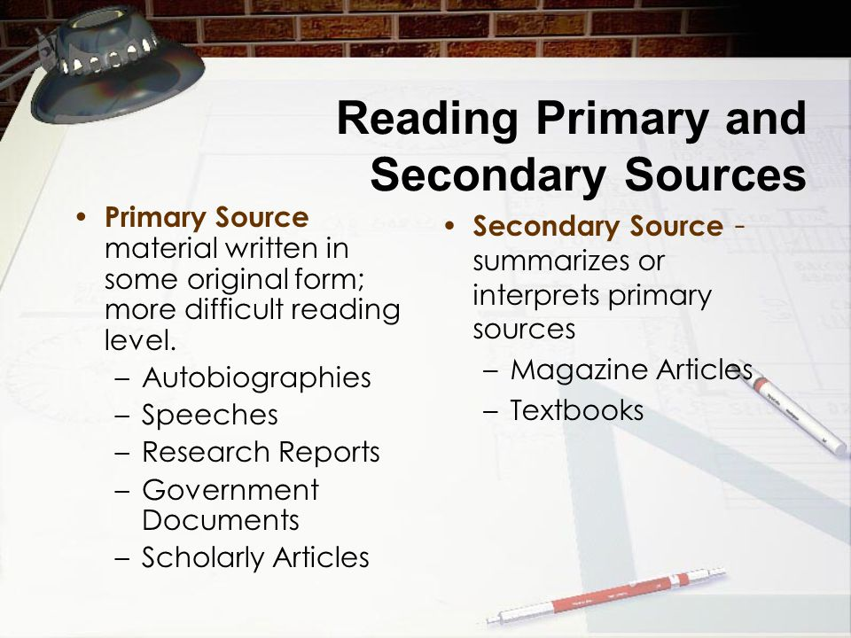 Reading Primary and Secondary Sources