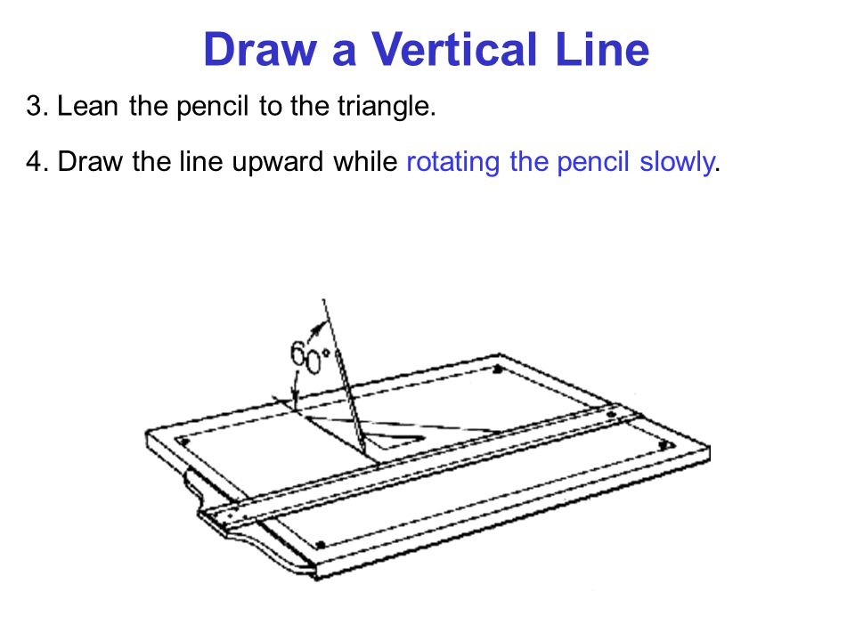 Draw a Vertical Line 3. Lean the pencil to the triangle.