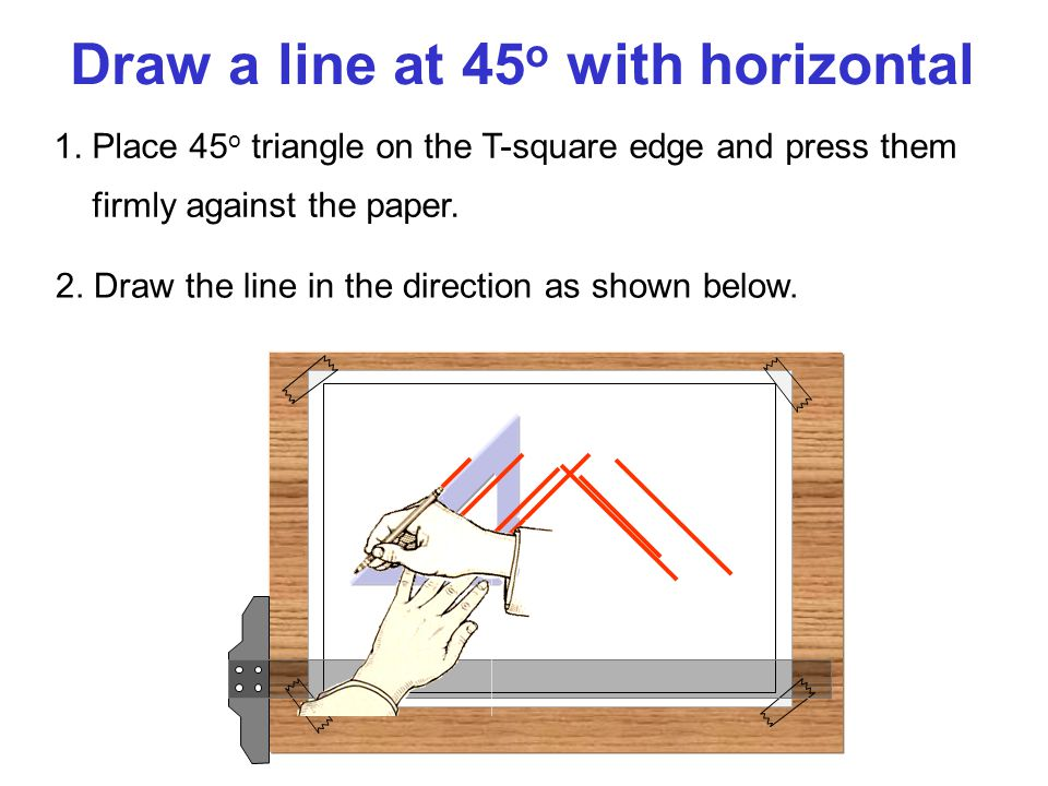 Draw a line at 45o with horizontal