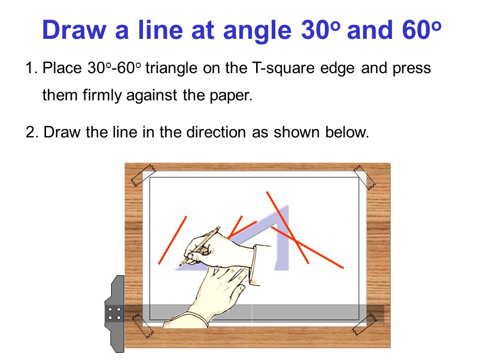 Draw a line at angle 30o and 60o