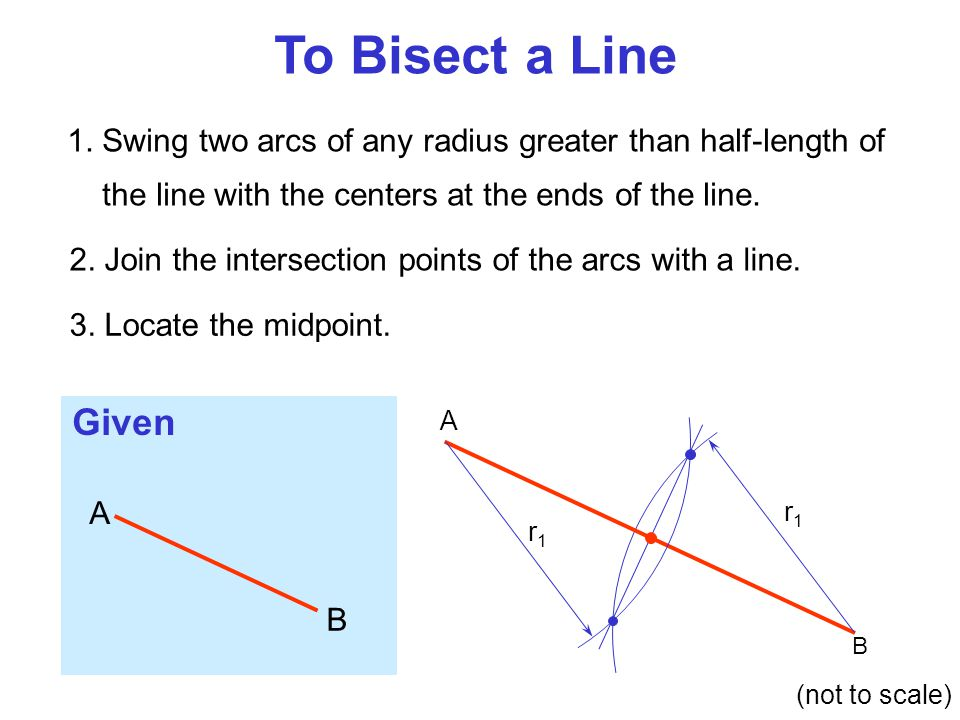 To Bisect a Line 1. Swing two arcs of any radius greater than half-length of the line with the centers at the ends of the line.
