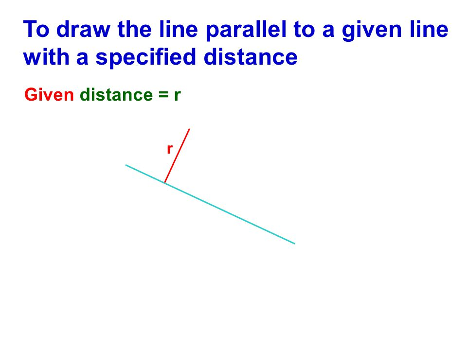 To draw the line parallel to a given line with a specified distance