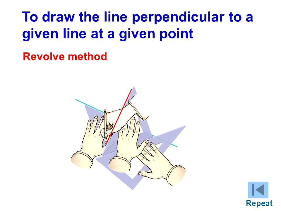 To draw the line perpendicular to a given line at a given point