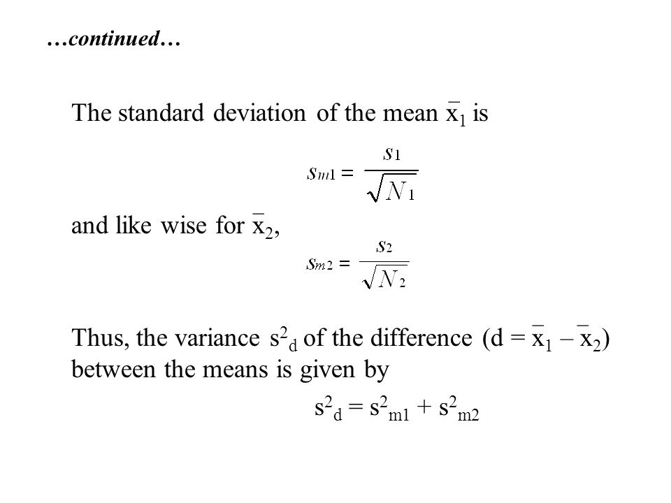 The standard deviation of the mean x1 is