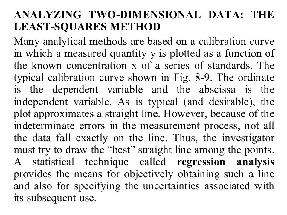 ANALYZING TWO-DIMENSIONAL DATA: THE LEAST-SQUARES METHOD