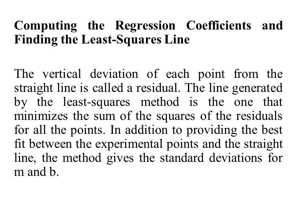 Computing the Regression Coefficients and Finding the Least-Squares Line