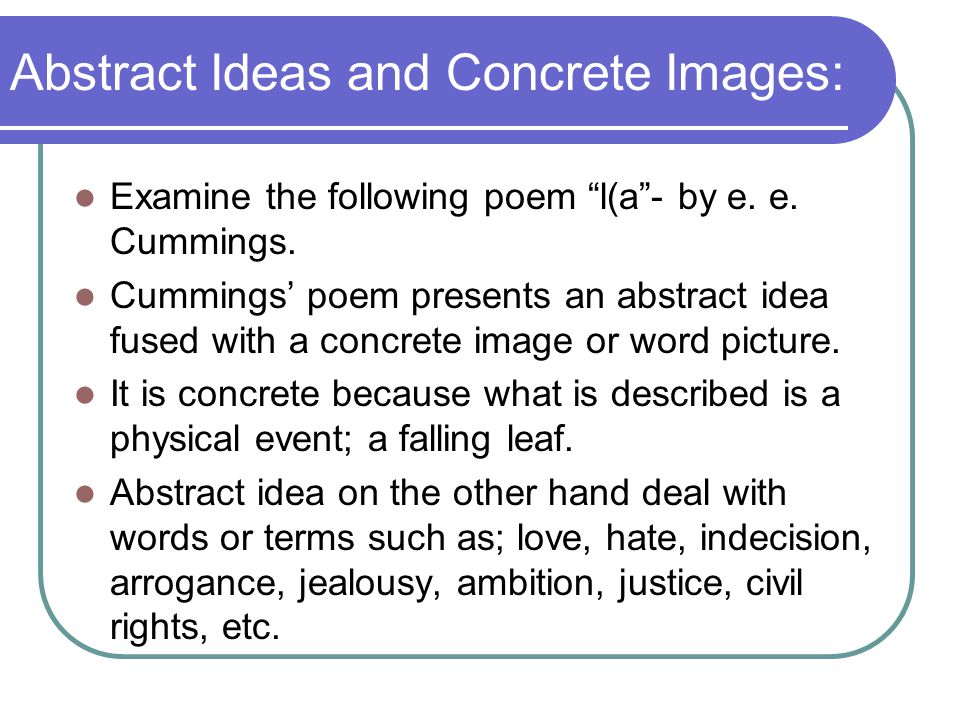 Abstract Ideas and Concrete Images: