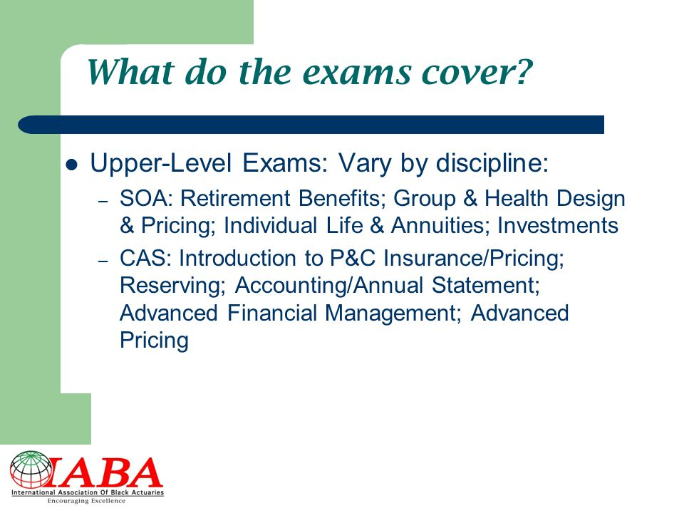 What do the exams cover Upper-Level Exams: Vary by discipline: