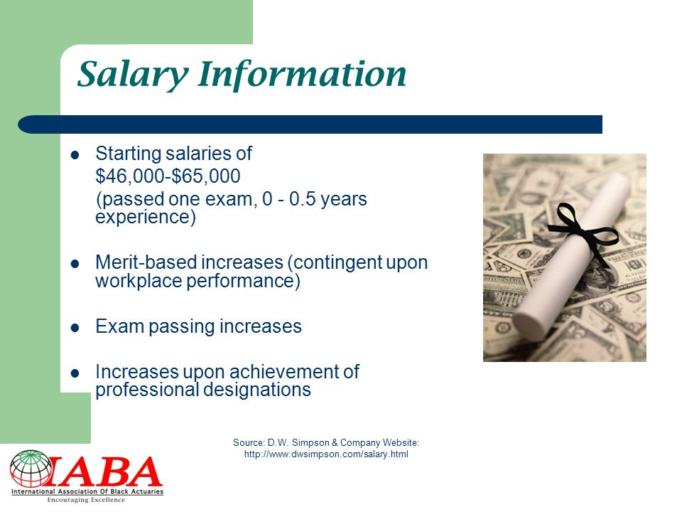 Salary Information Starting salaries of $46,000-$65,000