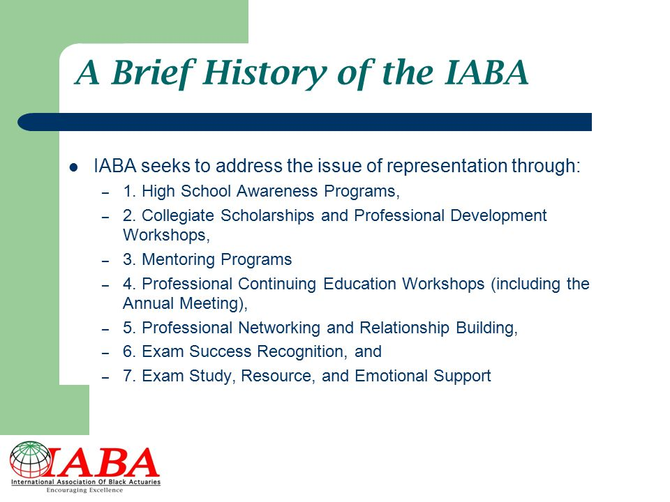 A Brief History of the IABA