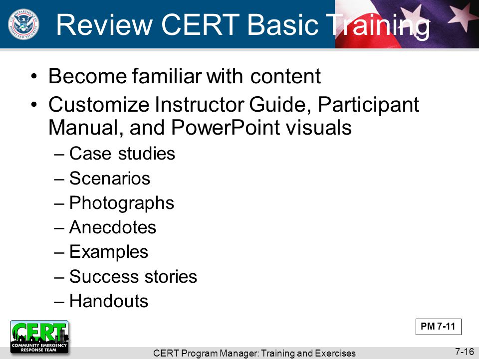 CERT Program Manager: Training and Exercises