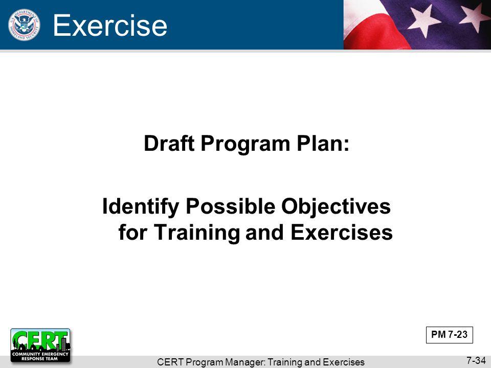 Exercise Draft Program Plan:
