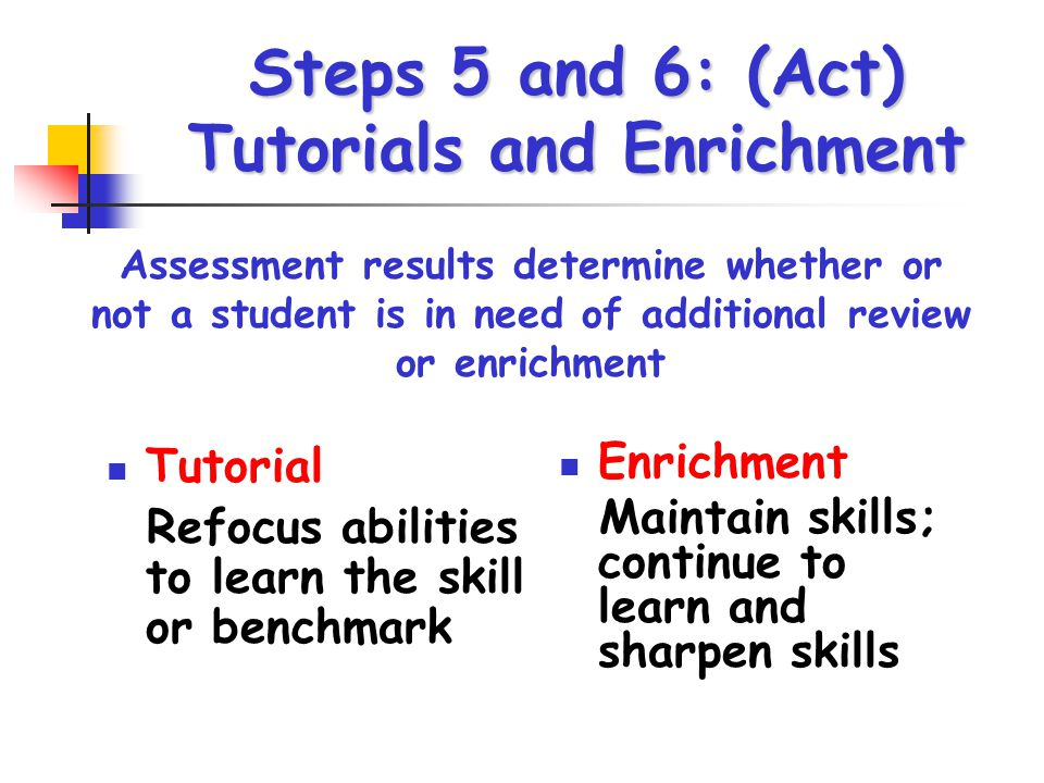 Steps 5 and 6: (Act) Tutorials and Enrichment