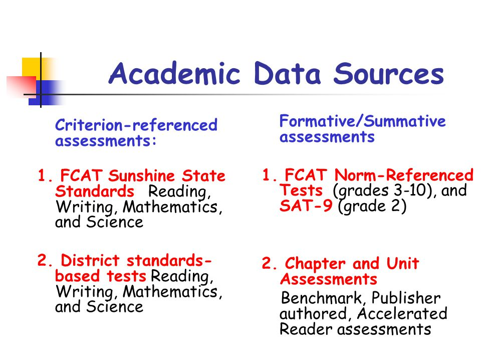 Academic Data Sources Formative/Summative assessments