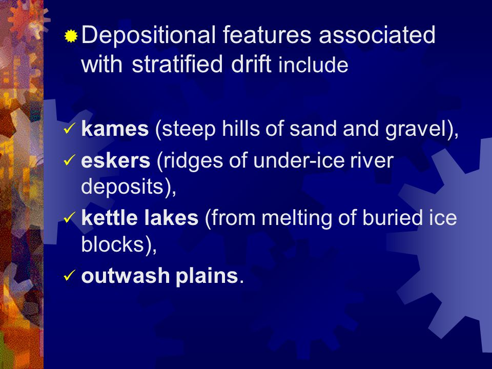 Depositional features associated with stratified drift include