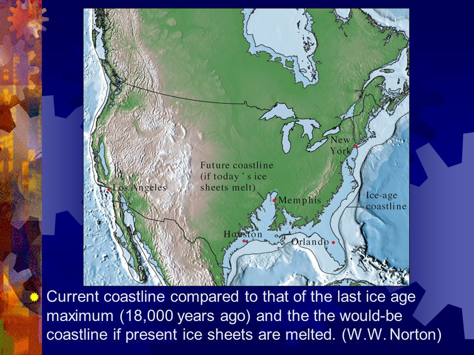 Current coastline compared to that of the last ice age maximum (18,000 years ago) and the the would-be coastline if present ice sheets are melted.