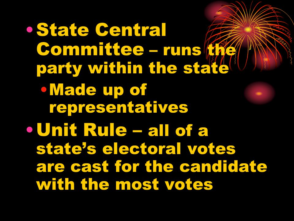 State Central Committee – runs the party within the state
