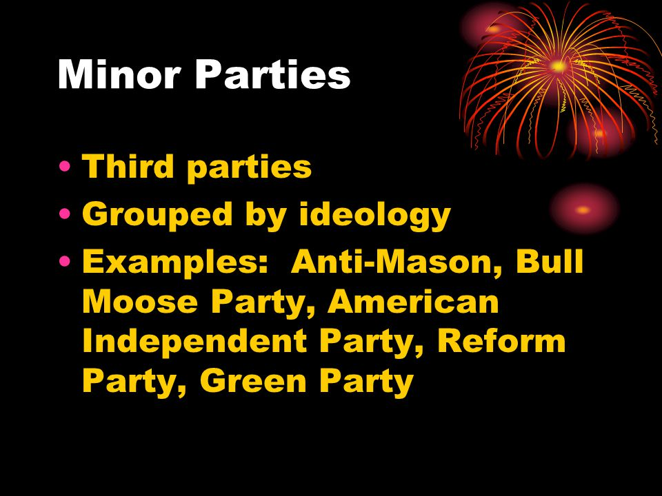 Minor Parties Third parties Grouped by ideology