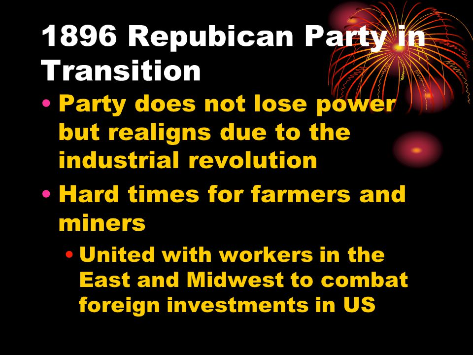 1896 Repubican Party in Transition