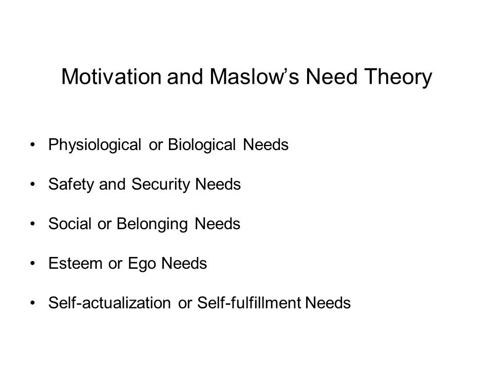 Motivation and Maslow's Need Theory