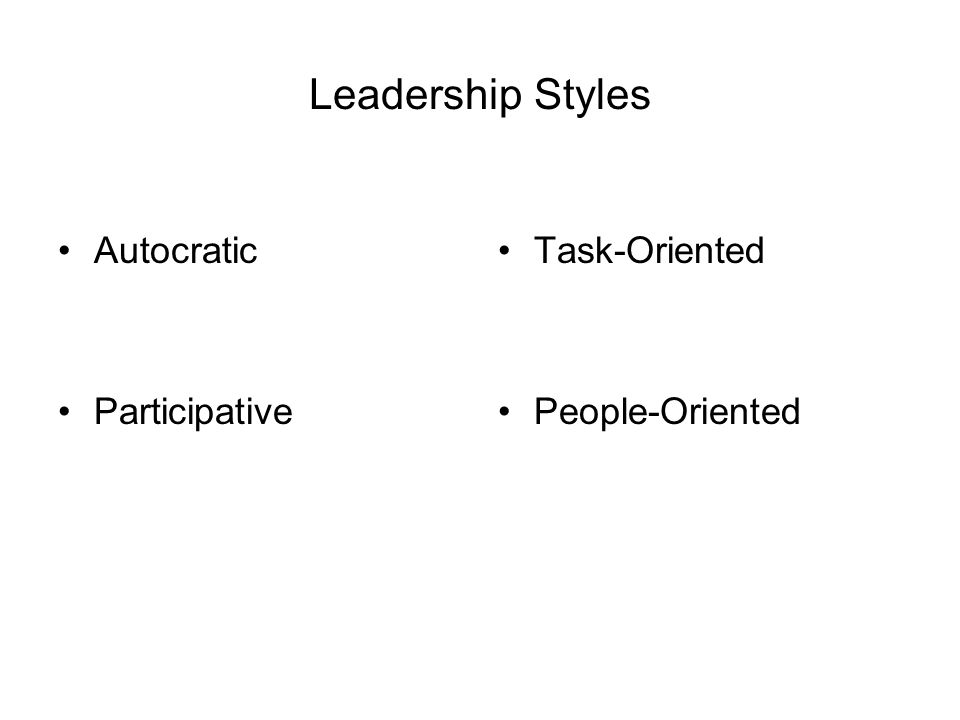 Leadership Styles Autocratic Participative Task-Oriented