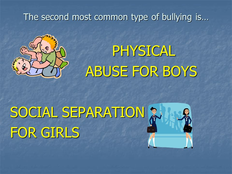 The second most common type of bullying is…