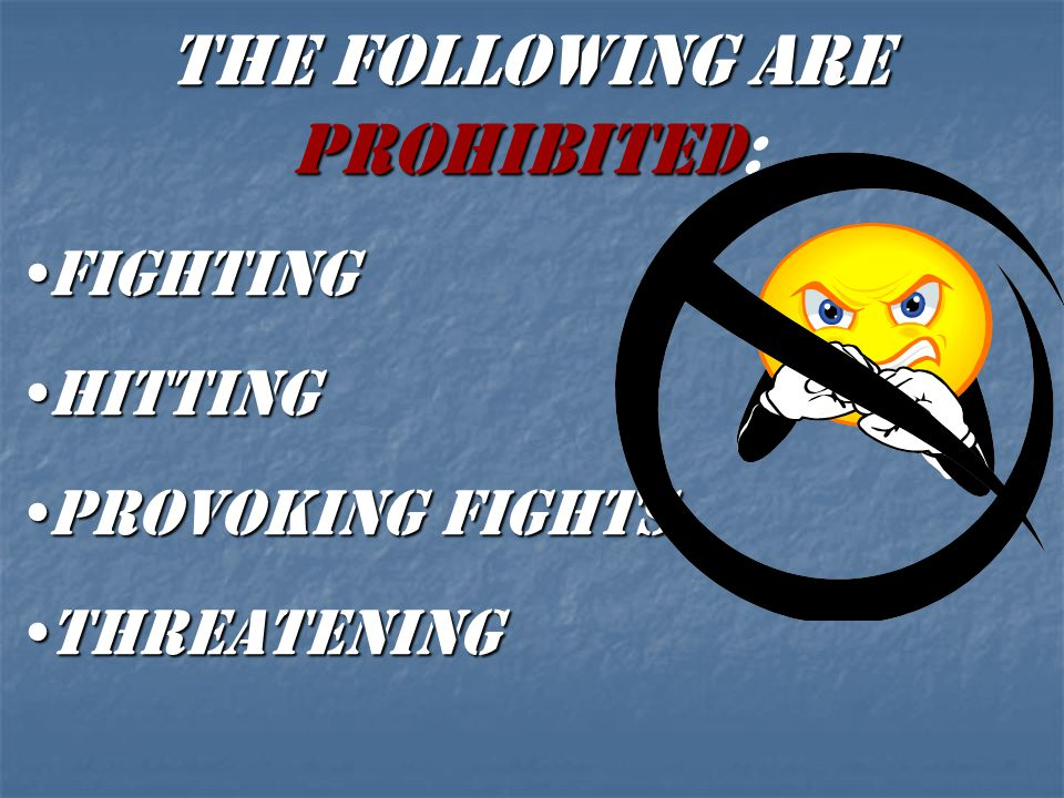 THE FOLLOWING ARE PROHIBITED: