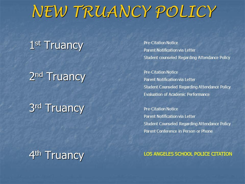 NEW TRUANCY POLICY 1st Truancy 2nd Truancy 3rd Truancy 4th Truancy