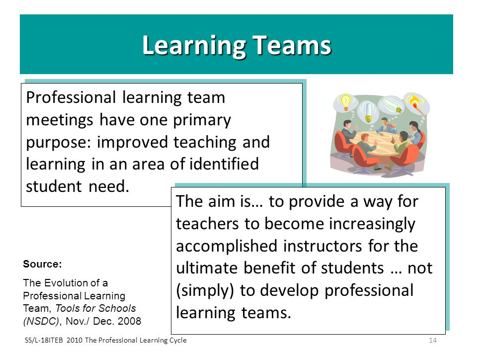 Learning Teams Professional learning team meetings have one primary purpose: improved teaching and learning in an area of identified student need.