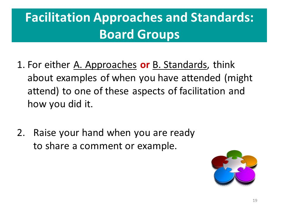 Facilitation Approaches and Standards: Board Groups