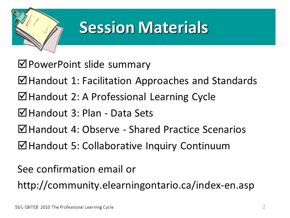 Session Materials PowerPoint slide summary