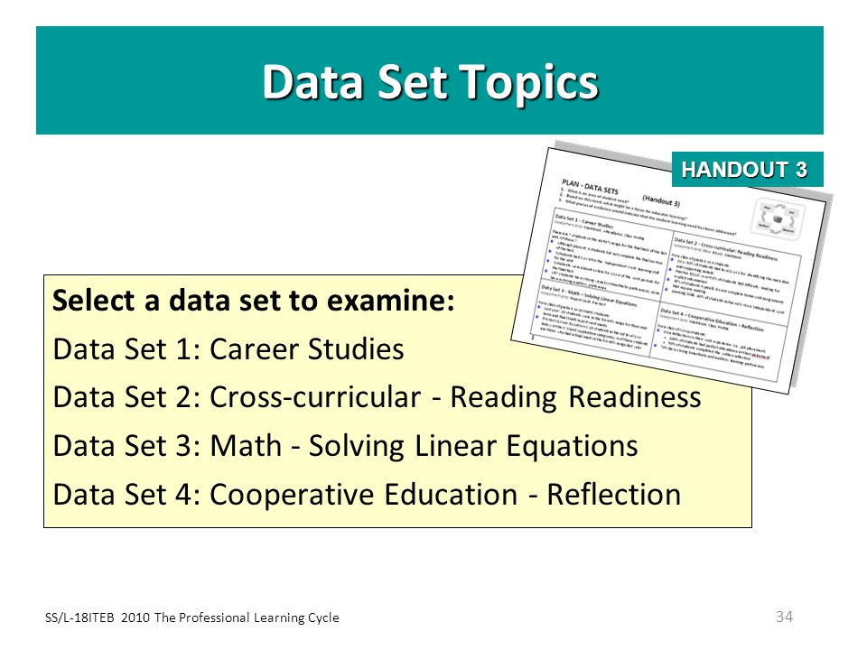 Data Set Topics Select a data set to examine: