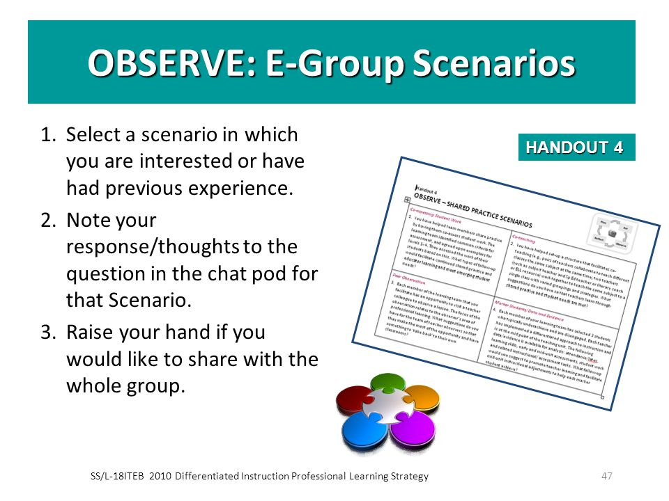 OBSERVE: E-Group Scenarios