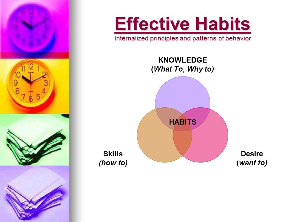 Effective Habits Internalized principles and patterns of behavior