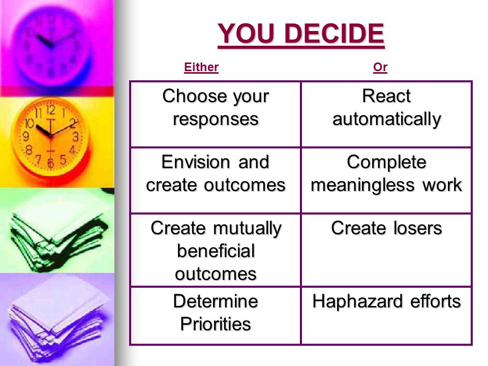 YOU DECIDE Choose your responses React automatically