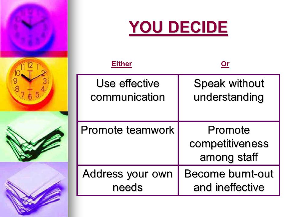 YOU DECIDE Use effective communication Speak without understanding