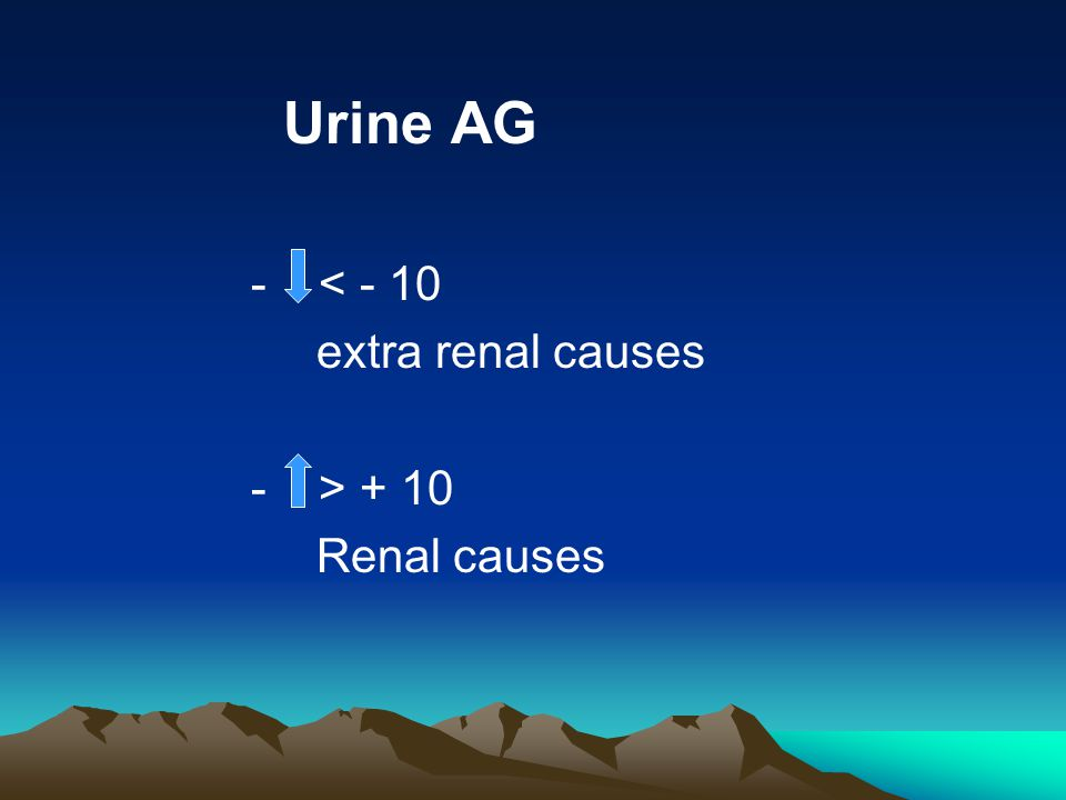 Urine AG - < - 10 extra renal causes - > + 10 Renal causes