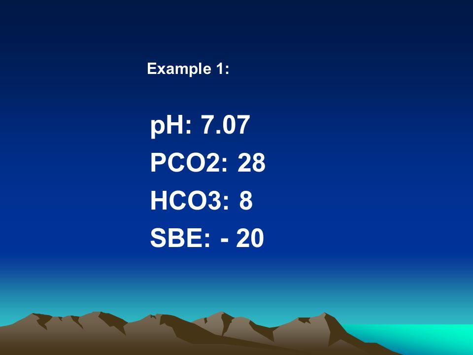 Example 1: pH: 7.07 PCO2: 28 HCO3: 8 SBE: - 20
