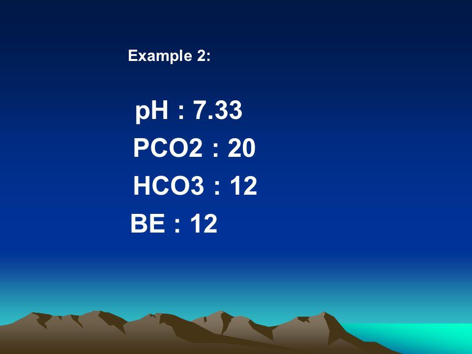 Example 2: pH : 7.33 PCO2 : 20 HCO3 : 12 BE : 12