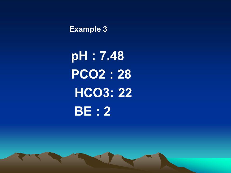 Example 3 pH : 7.48 PCO2 : 28 HCO3: 22 BE : 2