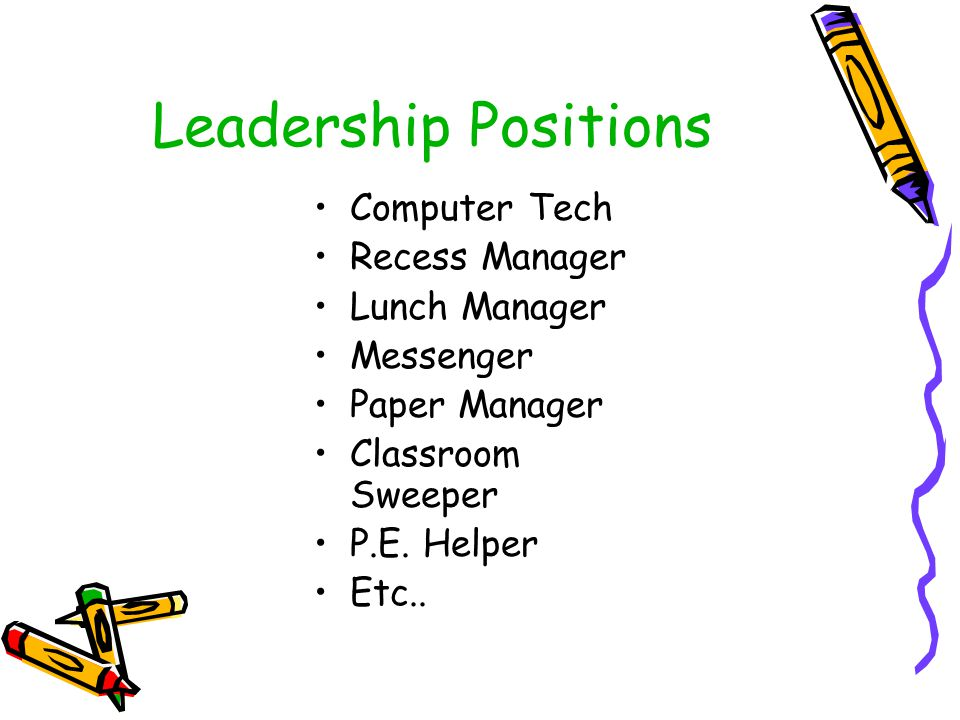 Leadership Positions Computer Tech Recess Manager Lunch Manager