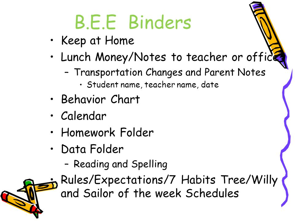 B.E.E Binders Keep at Home Lunch Money/Notes to teacher or office