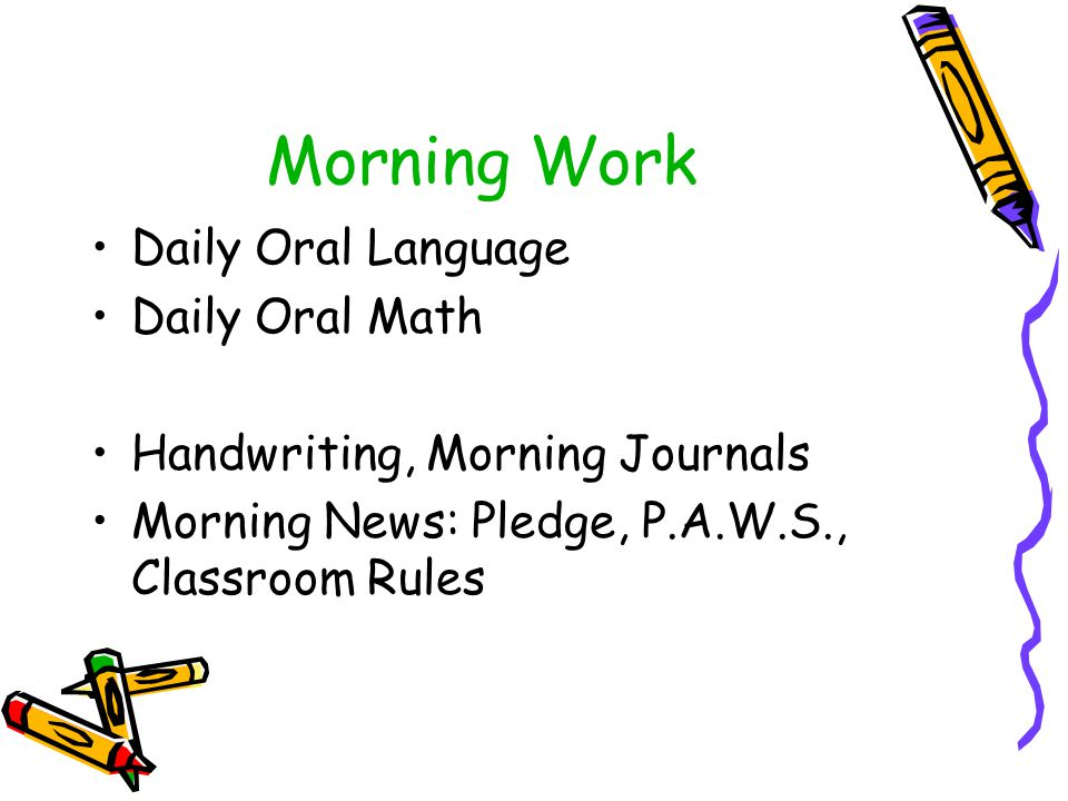 Morning Work Daily Oral Language Daily Oral Math